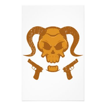 Halloween Themed Skull with gun stationery