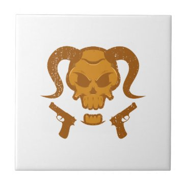 Halloween Themed Skull with gun tile