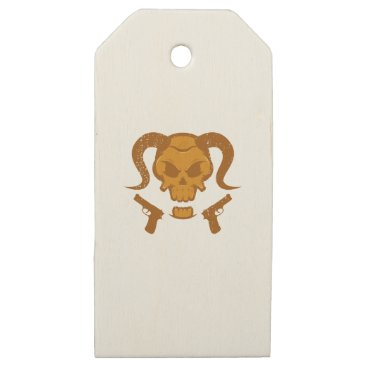 Halloween Themed Skull with gun wooden gift tags
