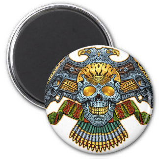 Skull with Guns and Bullets by Al Rio 2 Inch Round Magnet