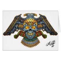 skull, skulls, skeleton, skeletons, gun, guns, handguns, bullets, ammo, al rio, characters, Card with custom graphic design