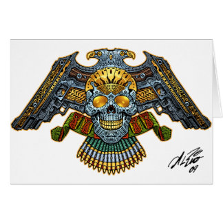 Skull with Guns and Bullets by Al Rio Card