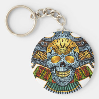 Skull with Guns and Bullets by Al Rio Keychain