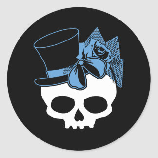Skull with Hat and Blue Bow Classic Round Sticker