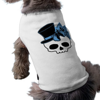 Skull with Hat and Blue Bow Shirt