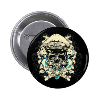 Skull with Hat and Crossbones Pinback Button