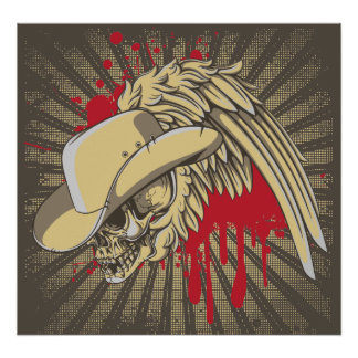 Skull with hat and wing on rays custom poster