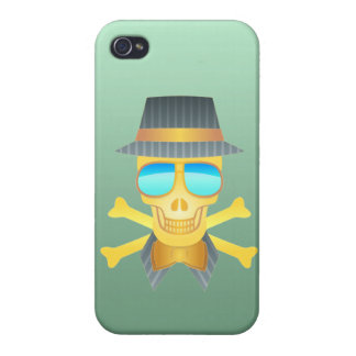 Skull with hat, bow tie & mirror shades. iPhone 4 case