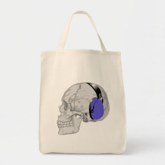 SKULL WITH HEADPHONES GROCERY TOTE BAG