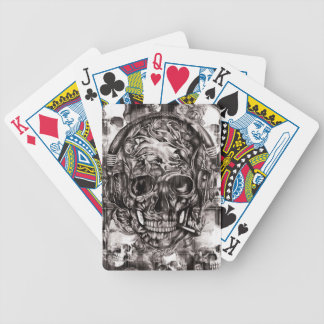 Skull with headphones hand drawn artwork. bicycle playing cards