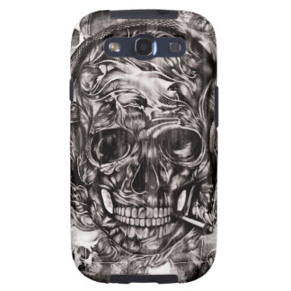 Skull with headphones hand drawn artwork. galaxy SIII covers