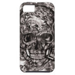 Skull with headphones hand drawn artwork. iPhone 5 cases