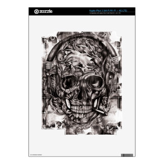 Skull with headphones hand drawn artwork. decals for iPad 3