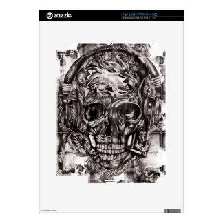 Skull with headphones hand drawn artwork. iPad 2 decal