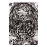 Skull with headphones hand drawn artwork. iPad mini cover