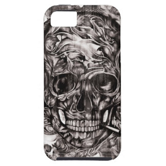 Skull with headphones hand drawn artwork. iPhone SE/5/5s case