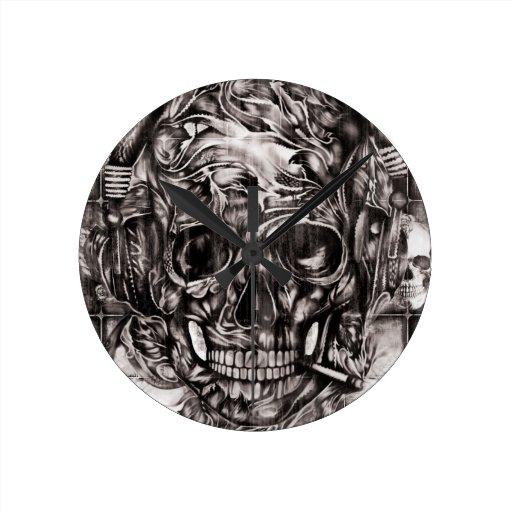 Skull with headphones hand drawn artwork. round wall clock