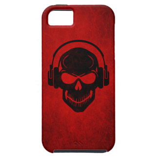Skull with Headphones Hardstyle - Rave Electro - Funda Para iPhone 5 Tough