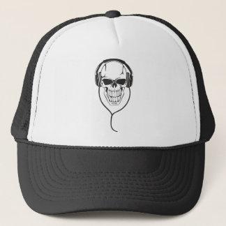 Skull with Headphones Trucker Hat