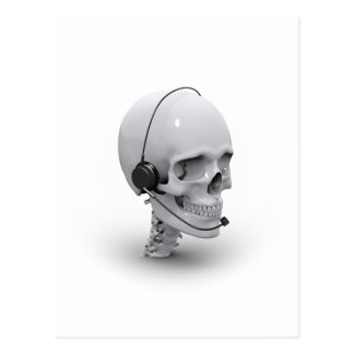 Skull with headset postcard