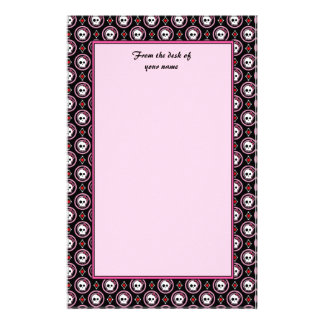 Skull with heart and bow design stationery