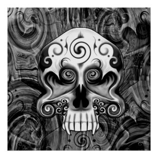 Skull With Heart Eyes Poster