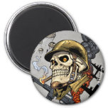 Skull with Helmet, Airplanes and Bombs 2 Inch Round Magnet