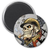 airborne, military, parachutes, skull, skeleton, gothic, war, veterans, art, illustration, al rio, Ímã com design gráfico personalizado