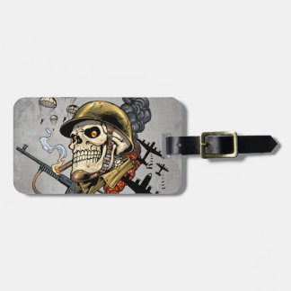Skull with Helmet, Airplanes and Bombs Bag Tag