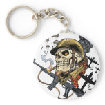 Skull with Helmet, Airplanes and Bombs Basic Round Button Keychain