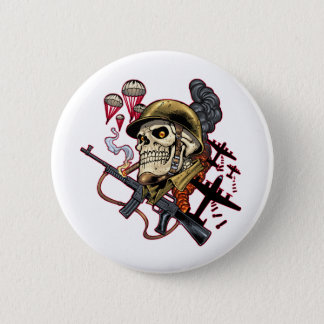 Skull with Helmet, Airplanes and Bombs Button