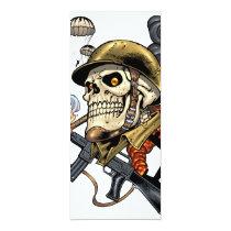 airborne, military, parachutes, skull, skeleton, gothic, war, veterans, art, illustration, al rio, Invitation with custom graphic design