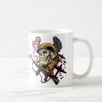 skull, skulls, airborne, marine, marines, corps, parachute, skeleton, skeletons, al rio, Mug with custom graphic design