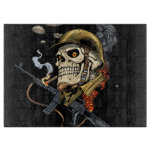 Skull with Helmet, Airplanes and Bombs Cutting Board
