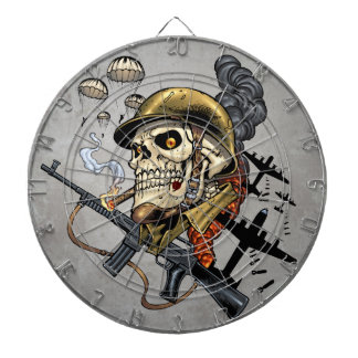 Skull with Helmet, Airplanes and Bombs Dart Board