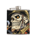 Skull with Helmet, Airplanes and Bombs Flask