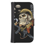 Skull with Helmet, Airplanes and Bombs Galaxy S4 Wallet Case