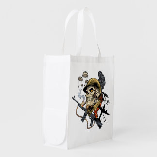 Skull with Helmet, Airplanes and Bombs Grocery Bag