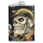 Skull with Helmet, Airplanes and Bombs Hip Flask