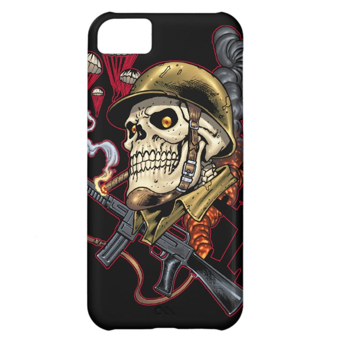 Skull with Helmet, Airplanes and Bombs iPhone 5C Cover