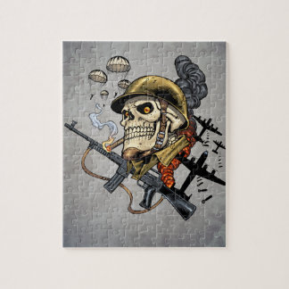 Skull with Helmet, Airplanes and Bombs Jigsaw Puzzle