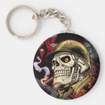skull,, skulls,, airborne,, marine,, marines,, corps,, parachute,, skeleton,, skeletons,, al rio, Keychain with custom graphic design