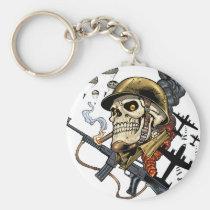 airborne, military, parachutes, skull, skeleton, gothic, war, veterans, art, illustration, al rio, Keychain with custom graphic design