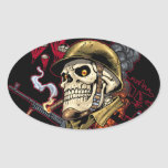 Skull with Helmet, Airplanes and Bombs Oval Sticker