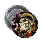 Skull with Helmet, Airplanes and Bombs Pinback Button