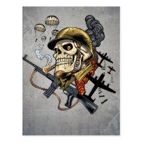 airborne, military, parachutes, skull, skeleton, gothic, war, veterans, art, illustration, al rio, Postcard with custom graphic design
