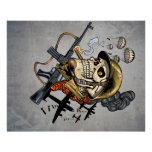 Skull with Helmet, Airplanes and Bombs Poster