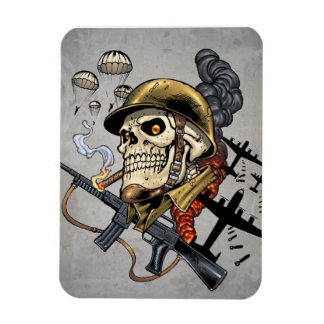 Skull with Helmet, Airplanes and Bombs Rectangular Photo Magnet