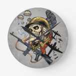 Skull with Helmet, Airplanes and Bombs Round Clocks