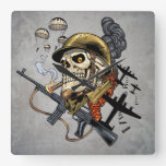 Skull with Helmet, Airplanes and Bombs Square Wallclocks